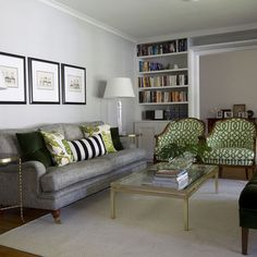 Check Out 21 Stunning Grey and Green Living Room Designs. A grey living room would look both formal and stylish, and adding different hues of greens to it, makes a whole lot of difference. Living Room Green, Living Room Sofa, Living Room Decor, Living Spaces, Living Rooms, Small Living, Living Area, Couch Design, Ottoman Design