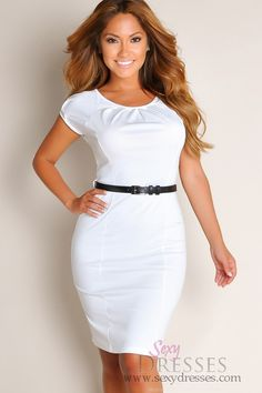 All White Sweetheart Solid Color Belted Waist A-Line Cocktail Dress $39.95