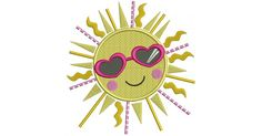 Sun So Bright You Got to Wear Shades Filled Machine Embroidery Design Digitized Pattern4x4  hoop - 3.86 x 3.69 inches;  11,074 stitches5x7  hoop - 5.15 x 4.92 inches;  19,320 stitches6x10 hoop - 6.39 x 6.09 inches;  26,740 stitches This machine embroidery design com