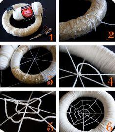Spider Web Yarn Wreath Tutorial
