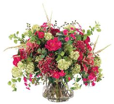 Natural Decorations, Inc. - K | Hydrangea Rose - Hydrangea Rose Fuchsia Wine Footed Cylinder