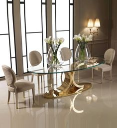 oval glass dining table designer carat gold oval glass dining set luxurious and made to measure by interiors glamorous showroom oval glass dining table uk Oval Glass Dining Table, Luxury Dining Tables, Elegant Dining Room, Luxury Dining Room, Dining Table Design, Modern Dining Table, Glass Tables, Tempered Glass Table Top, Esstisch Design