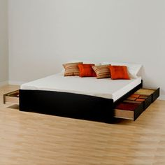 Prepac Black Sonoma King Platform Storage Bed