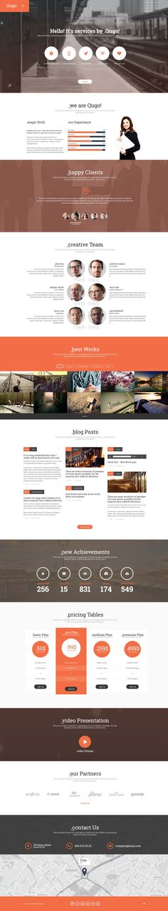 Buy Qugo - One Page Multi Purpose Modern HTML Template by Artureanec on ThemeForest. These three words define template in the main. All Codes, Corporate Website, Responsive Layout, Wordpress Theme Design, Html Templates, Website Layout, First Page, Web Design Inspiration, Purpose