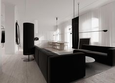 """Functional and modern interiors by Poland based Tamizo Architects, a group of young and talented architects who act based on the philosophy """"less is more"""". Flat interior design in a historic build… Flat Interior Design, Monochrome Interior, Black And White Interior, Modern Interior, Interior Architecture, Black White, Black Box, Beautiful Architecture, Tamizo Architects"""