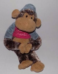 RARE-14-034-AURORA-People-Pals-CHEEKY-CHARLIE-Monkey-w-Blue-Pink-Hoodie-VERY-SOFT