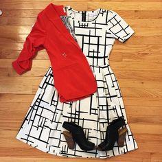 LulaRoe Amelia dress, red blazer from StitchFix,, and great shoes!