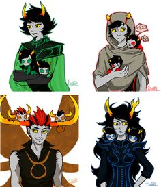 """It funny how the Dolorosa, Summoner and Signless look happy with their grubs, and then there's Mindfang who just looks confused, like """"How did these grubs get here? Where are there lusus'? Why are thy with me????????"""""""