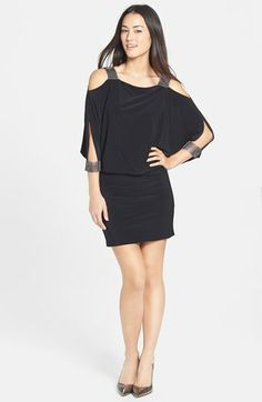 Betsy & Adam Embellished Slit Cuff Blouson Dress available at #Nordstrom
