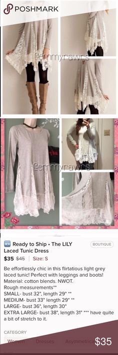The Lily Laced Tunic /Dress Be effortlessly chic in this little lace gray and white tunic! Size small. NWOT sm measurements are bust 22' and length 29' material: cotton blends Dresses Asymmetrical
