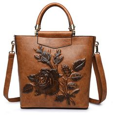 Elegant National Style Flower Pattern Shoulder Bags ($48) ❤ liked on Polyvore featuring bags, handbags, shoulder bags, shoulder bag purse, floral purse, brown shoulder bag, floral print purse and zipper shoulder bag