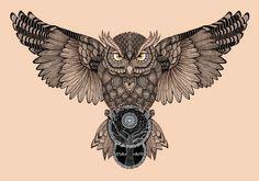 Owl by Romesh-Phoenix.deviantart.com on @DeviantArt #Tattoosonneck