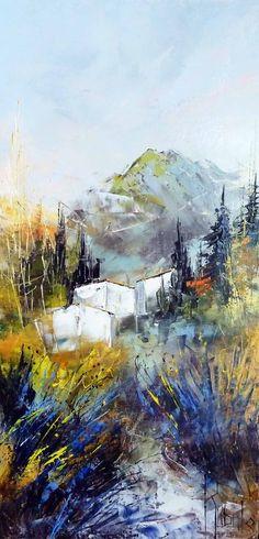 Dans les lavandes - 30 x 60 - 30cm x 60cm Nature, Watercolor, Awesome Art, Oil Paintings, Chalets, Fabrics, Paintings, Home Painting, Palette Knife Painting