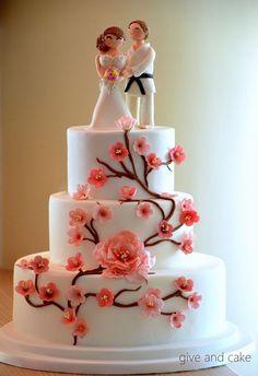 japenese wedding cakes | Japanese cherry blossom cake, judo topper — Round Wedding Cakes