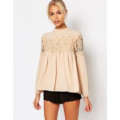 Fashion Union Pretty Lace Blouse ($46) ❤ liked on Polyvore featuring tops, blouses, nude, woven top, beige top, beige lace top, beige blouse and lacy tops