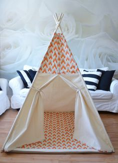 Teepee play tent with poles and play mat 4 by RomaSkyeConfections