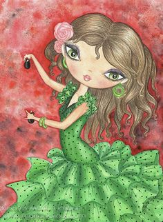 "Flamenco Dancer with Castanets 8""x10"" Art Print by 'MartaDalloul' $15.00 ETSY<3<3GORGEOUS<3<3"