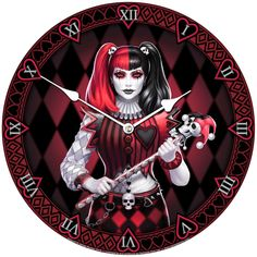 Artwork by James Ryman. The Jester clock features a female jester lady with harlequin style red and black costume and black and red pigtails. Angel Outfit, Cool Clocks, Black Costume, Gothic House, Gothic Fashion, Harley Quinn, Steampunk, Fantasy, Artwork