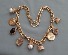 Vintage Etruscan Revival Runway Couture Faux Pearl Coin Charm Necklace Chunky