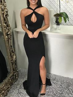 Twist Halter Open Chest Slit Side Evening Dress, #EveningDress #dress #dresses #shoes