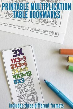 Printable Multiplication Bookmarks for times tables revision. Great for home and classroom. Colouring and fill in the blank versions included.