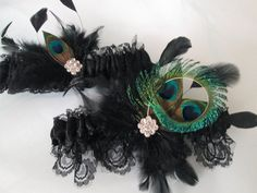 Black Lace Wedding Garter Set Peacock Garters Gothic Noir Feather Steampunk Rustic Fall
