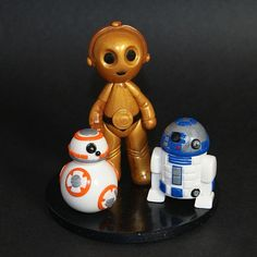 Birthday cake topper / figurine anniversaire / polymer clay / fimo / Star Wars / droïde / R2D2 / BB8 / C3PO