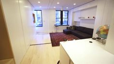 GIZMODO - The Tiny Transforming Apartment That Packs Eight Rooms into 350 Square Feet on Vimeo -- This is so cool.