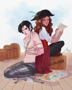 I think I need a few more days to recover but here's a pirate Jude and merman… is this not Kylo and Rey? Mermaid Drawings, Mermaid Art, Mermaid Paintings, Vintage Mermaid, Book Characters, Fantasy Characters, Fantasy Creatures, Mythical Creatures, Character Inspiration