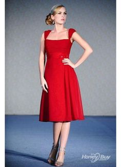 boat neckline red short wedding and bridesmaid dress