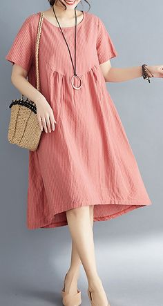 Women red striped Cotton clothes stylish o neck asymmetric tunic Summer Dress www.farben- red striped Cotton clothes stylish o neck asymmetric tunic Summer Dress Linen Dresses, Cotton Dresses, Casual Dresses, Diy Summer Clothes, Look Chic, Summer Dresses For Women, Women's Fashion Dresses, Stylish Outfits, Short Sleeve Dresses