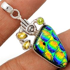 Dichoric Glass 925 Sterling Silver Pendant Jewelry DICP353