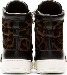 Balmain: Brown Leopard Calf-Hair High-Top Sneakers