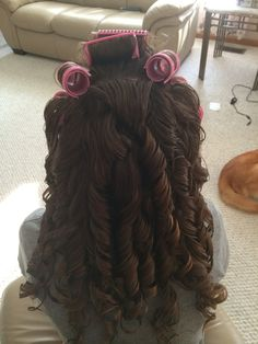 If my bf and I stay together long enough, I hope that this will be a frequent sight: me giving his gorgeous hair an awesome, curly style Curled Hairstyles, Wedding Hairstyles, Hairdos, Ringlet Curls, Curls Hair, Big Hair Rollers, Curls For Long Hair, Hair Setting, Dream Hair