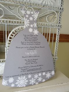Another possible invitation. Love the dress. Winter Wonderland  Bridal Shower by BeautifullyInviting on Etsy, $2.00