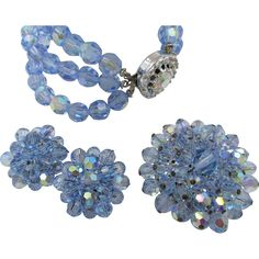 Light Blue Sparkling Glass Beaded Bracelet, Brooch and Earring Set