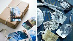 étiquettes pour les cadeaux avec photos