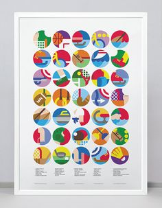 Poster with Sport Icons / Pictograms / Symbols corresponding to each of The Olympic Games Sports