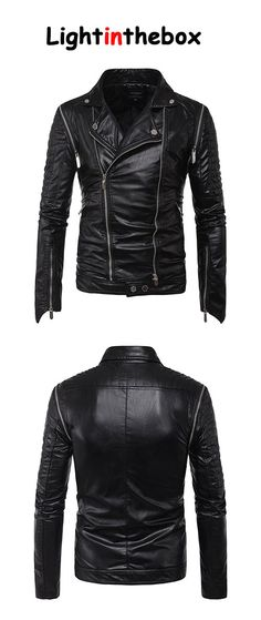 Men s Casual Daily Simple Fall Winter Leather Jacket Mens Attire 83773f20d95