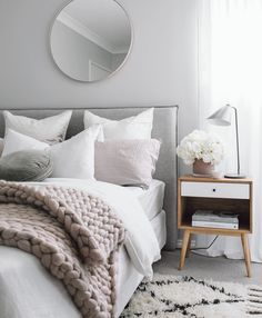 Grey, pink and white bedroom