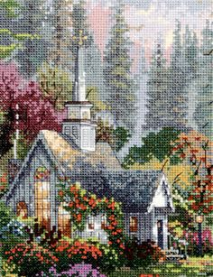 The Forest Chapel Cross Stitch Kit