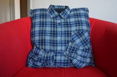 Project Project: Pillow made from a shirt to help a little boy remember his Grandad.