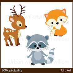 WOODLAND ANIMALS Cli art, Animal Vectors, Cute deer, Clip Art racoon, Clip art…