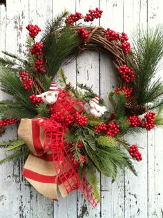 Country Christmas Wreath - Bird Christmas Wreath - Holiday Wreath for Door