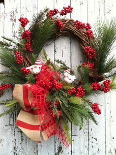 Country Christmas Wreath - Bird Christmas Wreath - Holiday Wreath for Door