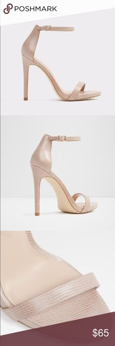 """Caraa High Heeled Sandal- ALDO Worn once, listed as a size 6 (actually 6.5) because when I purchased them the guy at the store said the strap across the toes was snug. He was right, I'm a 5.5-6 and they fit perfectly. Color: Bone, height: 4"""". Comes with box and original packaging. High Heeled Sandal, Open Round Toe, Stiletto Heel. Aldo Shoes Sandals"""
