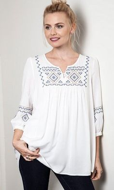 af0804fb1f7a7c Aya Embroidered Tunic via Isabella Boutique. Click on the image to see  more! Summer