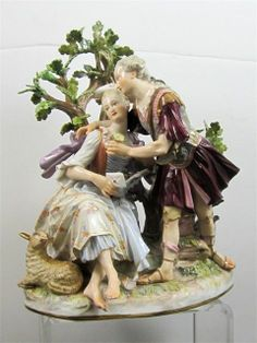 Magnificent Meissen porcelain group of a couple under a tree