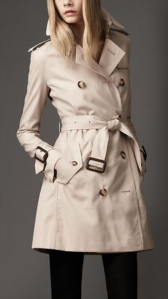 Mid-Length Technical Cotton Wide Cuff Trench Coat | Burberry