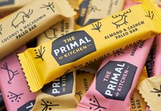 "The Primal Kitchen. Designed by Midday | Country: United Kingdom ""Established 2 million years B.C. (Before Cereals), The Primal Kitchen are a new health food brand based upon the caveman diet. Launching with the UK's first Paleo bar they have Mammoth plans to change the face of healthy eating."" Trouvé sur http://lovelypackage.com/the-primal-kitchen/ (2014, June)"